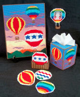 Plastic Canvas Hot Air Balloons Set