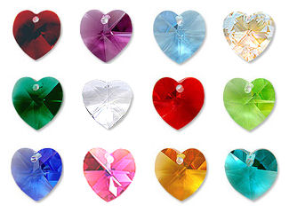 Genuine Swarovski 14mm Heart Birthstone Crystals