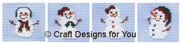Itsy Bitsy Snowmen and Snowladies in Cross Stitch