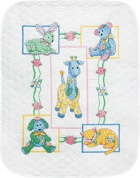 Baby Hugs Baby's Friends Stamped Quilt Kit