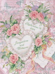 Two Hearts United Stamped Cross Stitch Kit