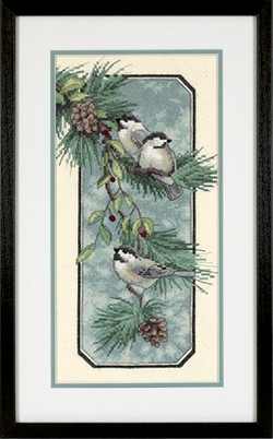 Chickadees on a Branch Stamped Cross Stitch Kit