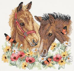 Horse Friends Stamped Cross Stitch Kit