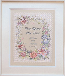 Two Hearts Wedding Stamped Cross Stitch Kit