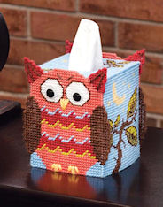 Plastic Canvas Mary Maxim Owl Tissue Topper Kit