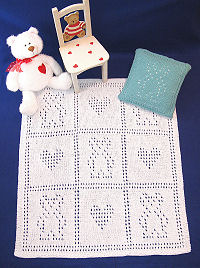 Knit Teddy Bear Blankie Set