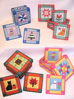Plastic Canvas Quilted Kitty Coasters